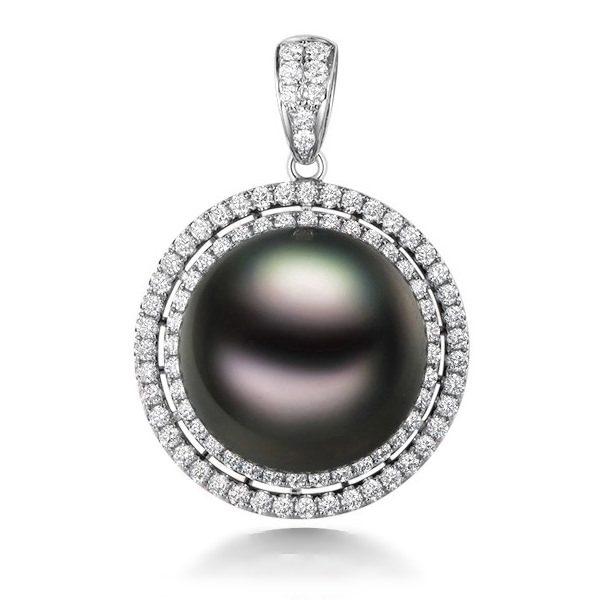 Natural Black Pearl in 18K Gold Pendant