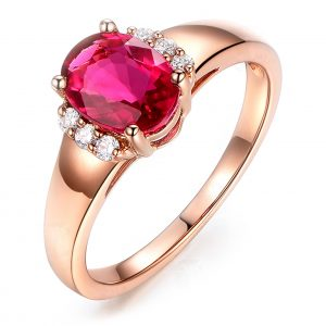 1.55ct Natural Red Tourmaline in 18K Gold Ring