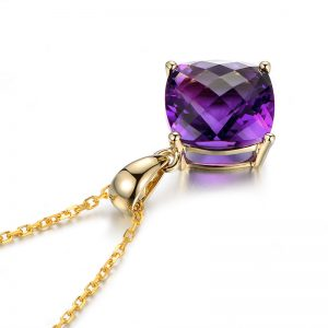 4ct Natural Purple Amethyst in 18K Gold Pendant
