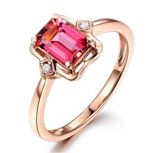 1.07ct Natural Pink Tourmaline in 18K Gold Ring