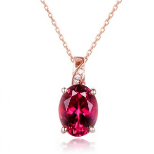 1.7ct Natural Red Tourmaline in 18K Gold Pendant