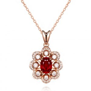 1.25ct Natural Red Ruby in 18K Gold Pendant
