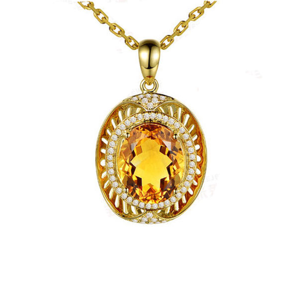 6.5ct Natural Yellow Citrine in 18K Gold Pendant