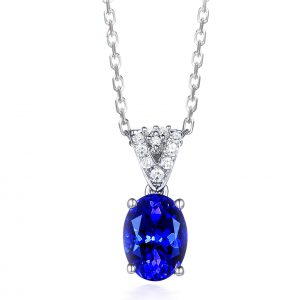 1.45ct Natural Blue Tanzanite in 18K Gold Pendant