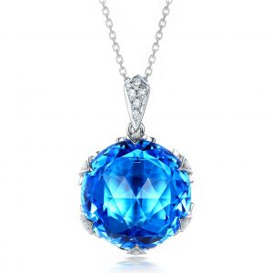 15ct Natural Blue Topaz in 18K Gold Pendant