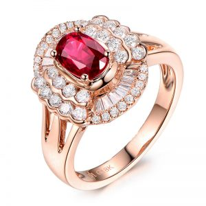 1.2ct Natural Red Ruby in 18K Gold Ring