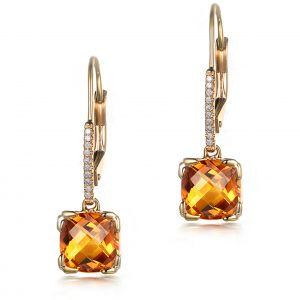 5.5ct Natural Yellow Citrine in 18K Gold Earring
