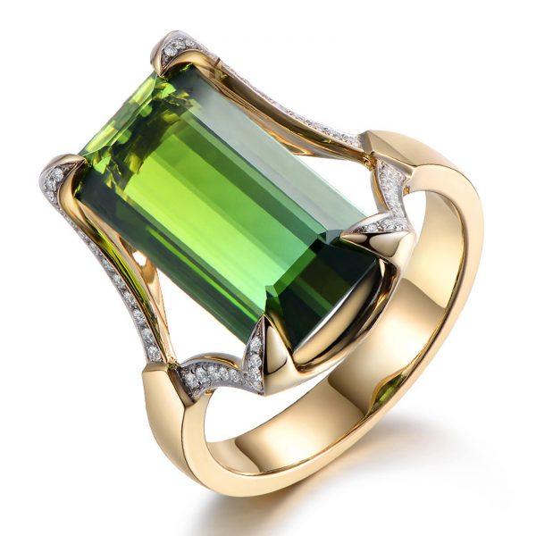 9.35ct Natural Green Tourmaline in 18K Gold Ring