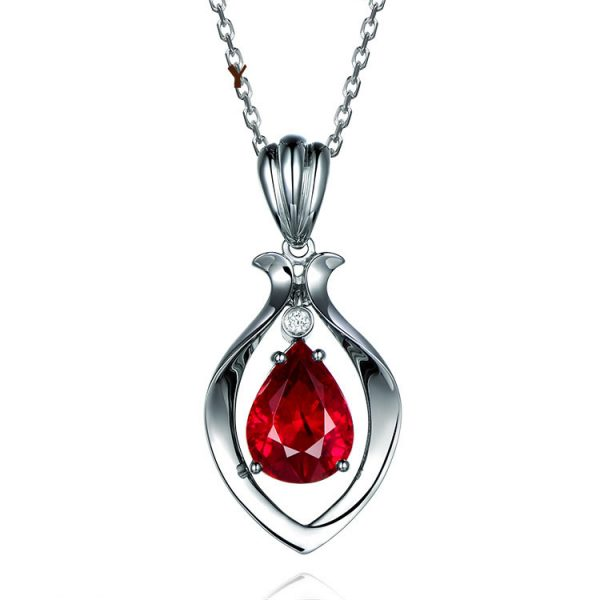 2.16ct Natural Red Tourmaline in 18K Gold Pendant