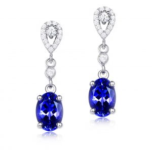 2.01ct Natural Blue Tanzanite in 18K Gold Earring
