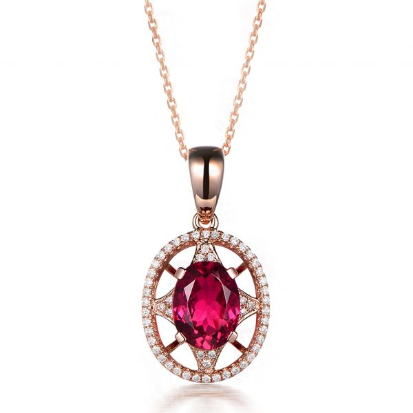 1.35ct Natural Red Tourmaline in 18K Gold Pendant