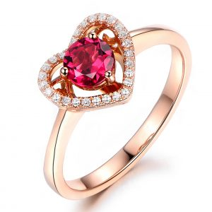 0.51ct Natural Red Tourmaline in 18K Gold Ring