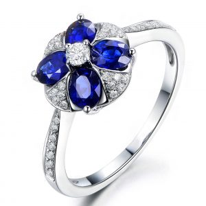 1.15ct Natural Blue Sapphire in 18K Gold Ring
