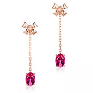 1.55ct Natural Red Tourmaline in 18K Gold Earring