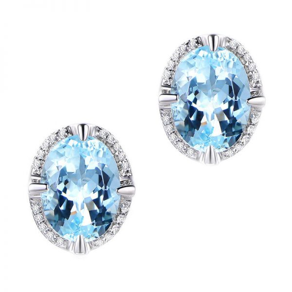 2.55ct Natural Blue Aquamarine in 18K Gold Earring
