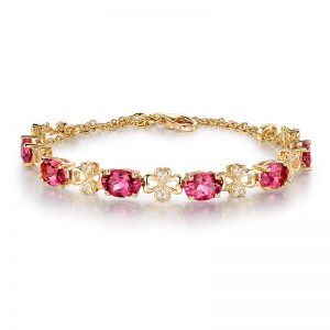 5.5ct Natural Pink Tourmaline in 18K Gold Bracelet