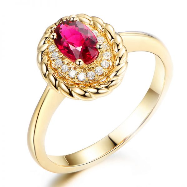 0.66ct Natural Red Ruby in 18K Gold Ring