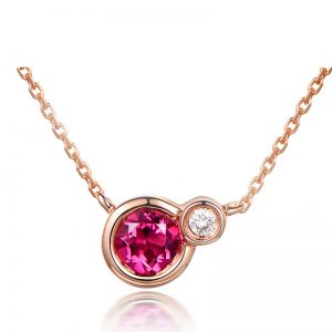 0.45ct Natural Red Tourmaline in 18K Gold Pendant