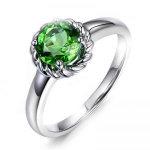 1.15ct Natural Green Tourmaline in 18K Gold Ring