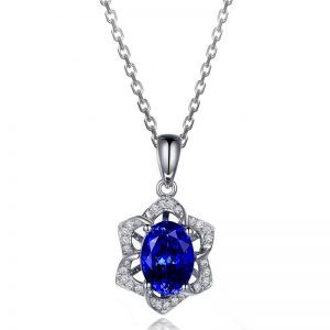 1.74ct Natural Blue Tanzanite in 18K Gold Pendant