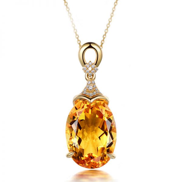 13.98ct Natural Yellow Citrine in 18K Gold Pendant