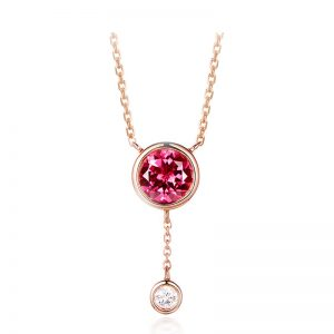 1.01ct Natural Pink Tourmaline in 18K Gold Pendant