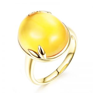 12.5ct Natural Yellow Citrine in 18K Gold Ring
