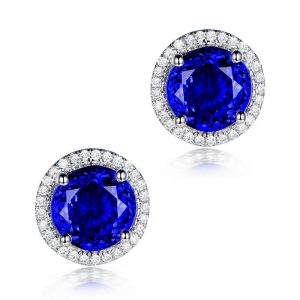 6.61ct Natural Blue Tanzanite in 18K Gold Earring