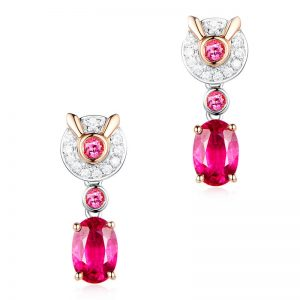 1.7ct Natural Red Tourmaline in 18K Gold Earring