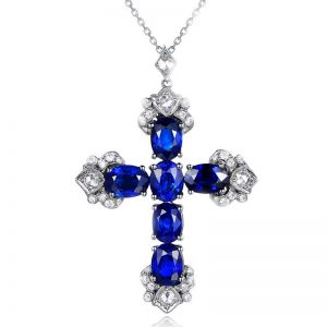 5.63ct Natural Blue Sapphire in 18K Gold Pendant