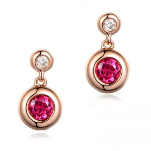 0.8ct Natural Red Tourmaline in 18K Gold Earring