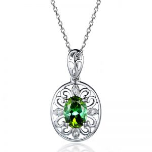 0.88ct Natural Green Tourmaline in 18K Gold Pendant