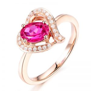 0.85ct Natural Red Tourmaline in 18K Gold Ring