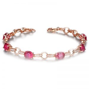 5.08ct Natural Red Tourmaline in 18K Gold Bracelet