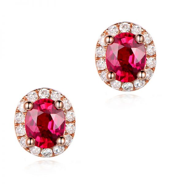 1.1ct Natural Red Ruby in 18K Gold Earring