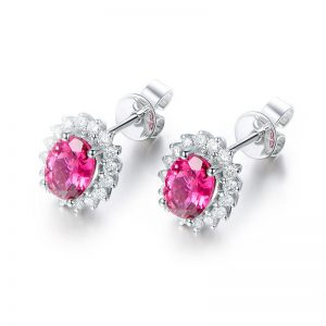 1.75ct Natural Pink Tourmaline in 18K Gold Earring