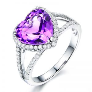 3.5ct Natural Purple Amethyst in 18K Gold Ring
