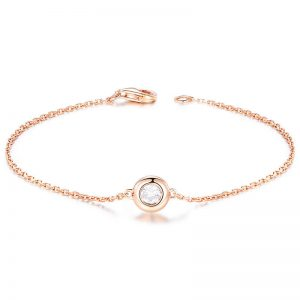 0.28ct Natural White Diamond in 18K Gold Bracelet