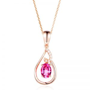 0.91ct Natural Pink Tourmaline in 18K Gold Pendant