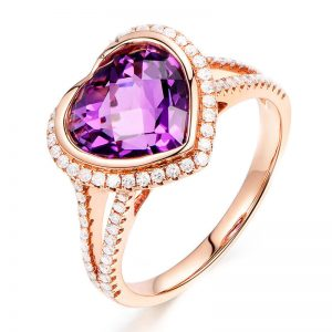 3.75ct Natural Purple Amethyst in 18K Gold Ring