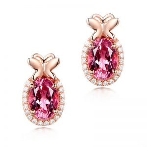 1.95ct Natural Pink Tourmaline in 18K Gold Earring