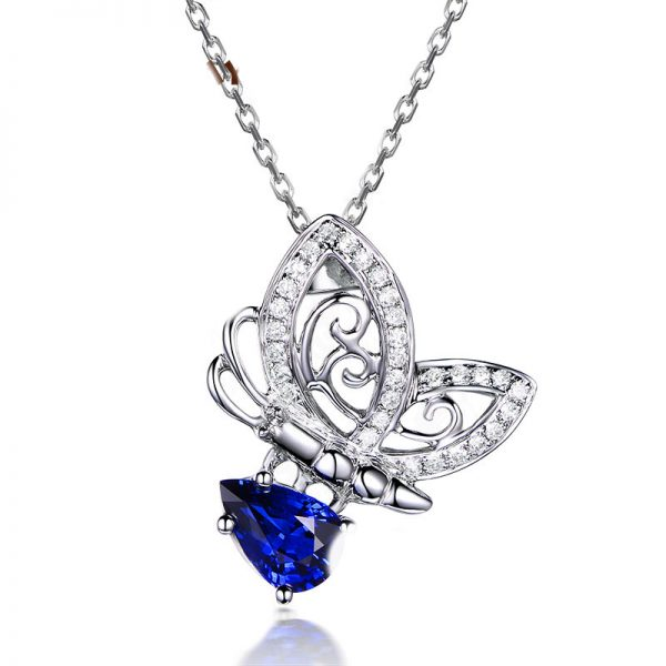 0.88ct Natural Blue Sapphire in 18K Gold Pendant
