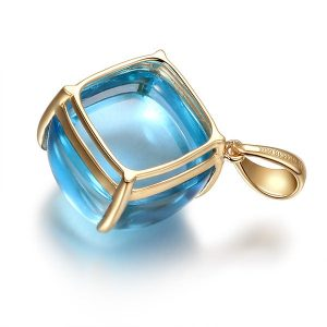 15.6ct Natural Blue Topaz in 18K Gold Pendant