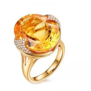17.5ct Natural Yellow Citrine in 18K Gold Ring