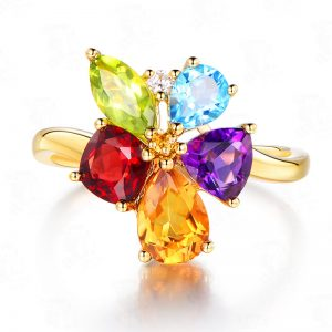 2.5ct Natural Multi Colored Stones in 18K Gold Ring