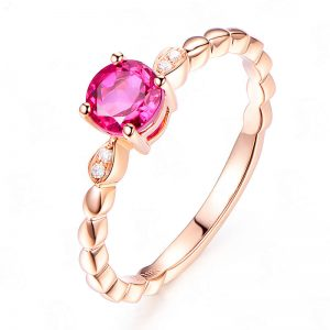 0.7ct Natural Pink Tourmaline in 18K Gold Ring