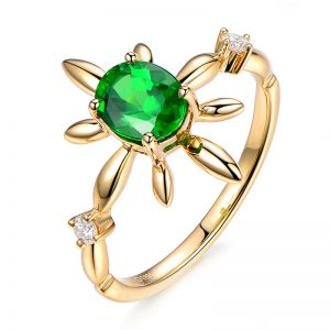 1.15ct Natural Green Tsavorite in 18K Gold Ring