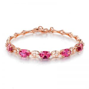 4.5ct Natural Pink Tourmaline in 18K Gold Bracelet