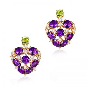4.5ct Natural Purple Amethyst in 18K Gold Earring
