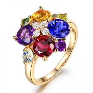 3.74ct Natural Purple Amethyst in 18K Gold Ring